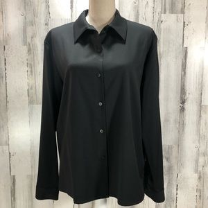 Eileen Fisher Italian Wool Button Down Blouse L